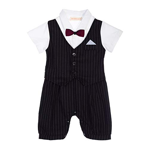 Baby Boy Christening Wedding Outfit Shorts Vest Bowtie (Gray with White Shirt) (Grey, Medium)