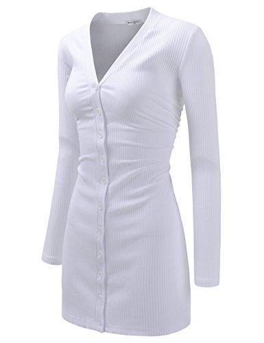 NEARKIN (NKNKWBC793 Womens Slim Cut Look Stripe Pattern Button Up Dress Long Cardigan White US L(Tag Size XL)
