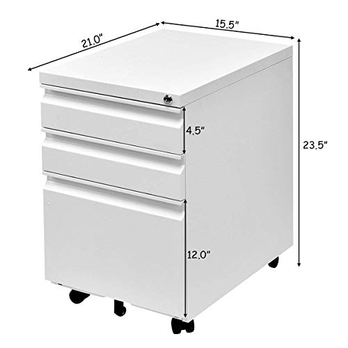 Giantex Rolling Mobile File W/3 Lockable Drawers and Pedestal for Office Study Room Home Steel Storage Cabinet (White) by Giantex (Image #7)