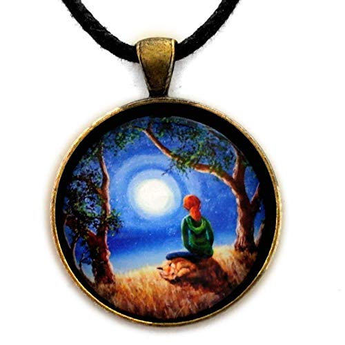 Fox Spirit Meditation Redhead Woman Meditating Under a Tree Handmade Jewelry Zen Cord Necklace