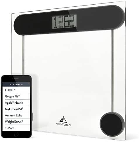 Weight Gurus Digital Glass Bathroom Scale, Large Display, Precision Body Weight Measurement, Accurate to 0.1 of a Pound. Batteries included.