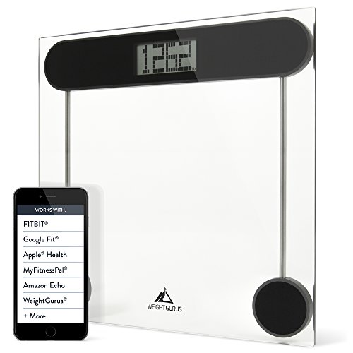 Weight Gurus Digital Bathroom Weight Scale (Clear) Glass, Clean Design, Large Display & Battery Included