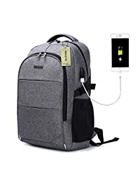 Laptop Backpack with USB Charging Port Travel Computer Bag for Women and Men Anti Theft Water Resistant College School Bookbag Slim Business Backpack Fits 15.6 inch Laptop and Notebook