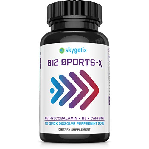 B12 Sports-X Sublingual Energy Pills with Caffeine, B12 Methyl-B, B6 for Instant Physical Endurance, Sublime Mental Clarity and Focus for Training, Competitions, Studying, Work, Life; Peppermint