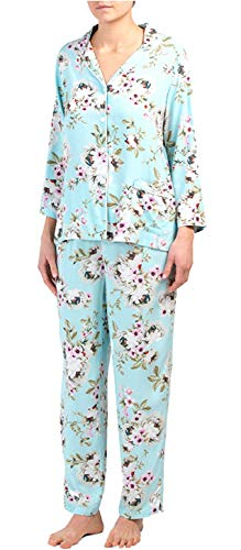 Woven Tropical Print Lounge Set/Pajamas Pjs (Aqua with Tropical Floral Print White Pink Flowers Green Stems Leaves, Large) ()