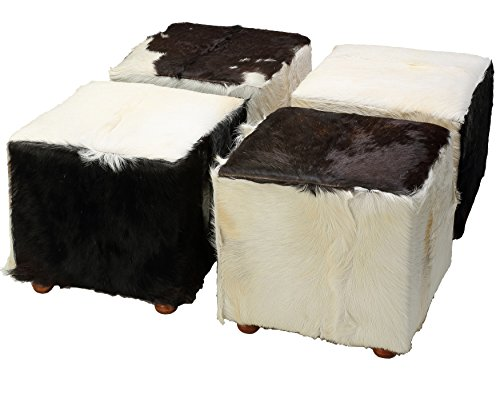 (Bare Decor Peru Black Cowhide Cube Ottoman in Genuine Hide Leather)