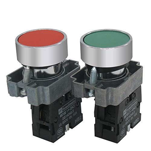mxuteuk 2pcs HB2-BA-RG 22mm Red (1 NC) Green (1 NO) Momentary Push Button Switch 660V 10A SPST,1 Year Warranty