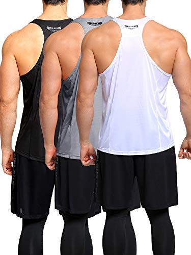 - Neleus Men's Dry Fit Y-Back Muscle Workout Tank Top,5008,3 Pack,Black/Grey/White,2XL,EU 3XL