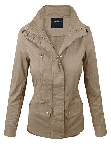 Makeitmint Women's Zip Up Military Anorak Jacket w/ Pockets Large Beige