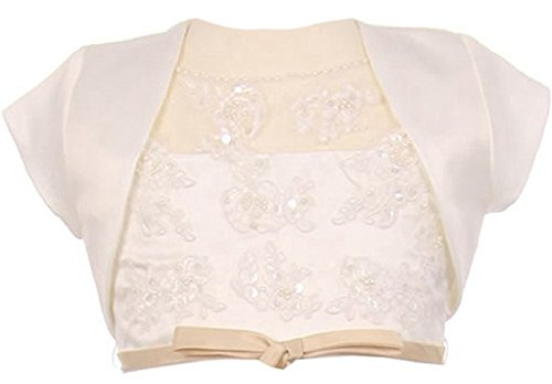 Meet Edge Little Girls Satin Short Sleeve Bolero Shrug Jacket 6 Ivory - Edge Shrug