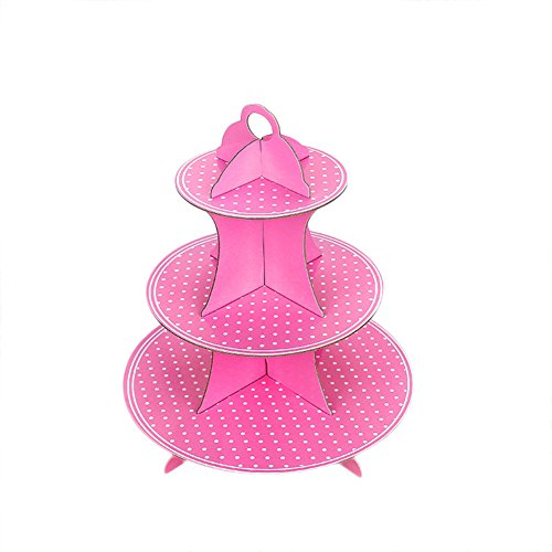 OOCC Polka Dots Cardboard 3-Tier Brownies Dessert Cupcake Display Stands Holder For Wedding Birthday Party Baby Shower Special Event Decoration (Pink)]()