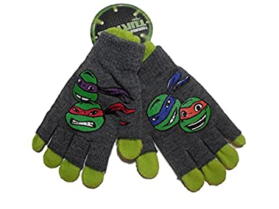 Teenage Mutant Ninja Turtles TMNT Childrens Kids Double Layer Gloves Green Grey Rubber