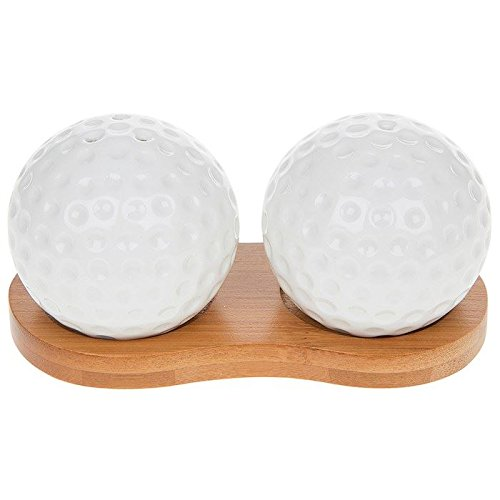 White Golf Balls Cruet Set, Bamboo Stand