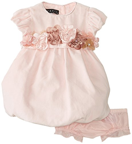 Biscotti Baby-Girls Newborn Winter Blooms Velvet Bubble Dress, Pink, 9 Months