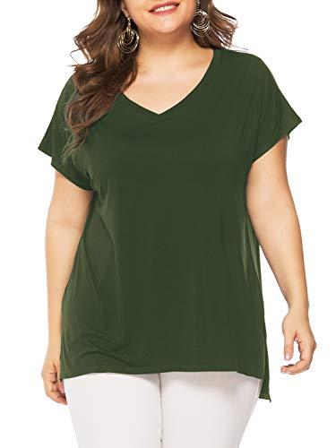 Florboom Womens Comfy V Neck Long T Shirts Plus Size Split Tshirts Army Green 3X