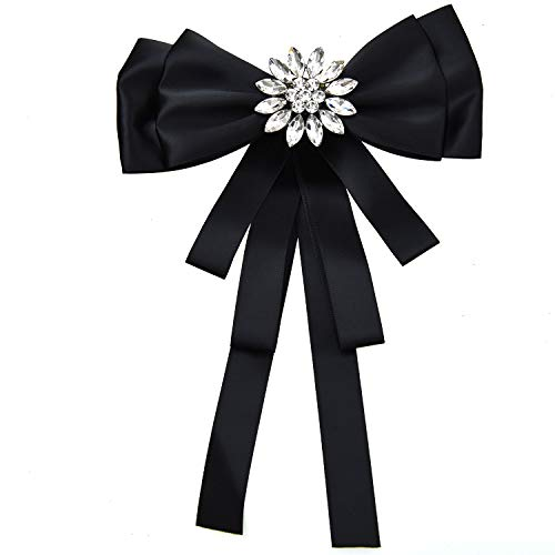 - Monrocco Rhinestone Crystal Ribbon brooches Pin Bow Tie Bow Brooch, Rhinestone Pre Tied Bow Collar Brooch Pin for Women Formal Wedding Party