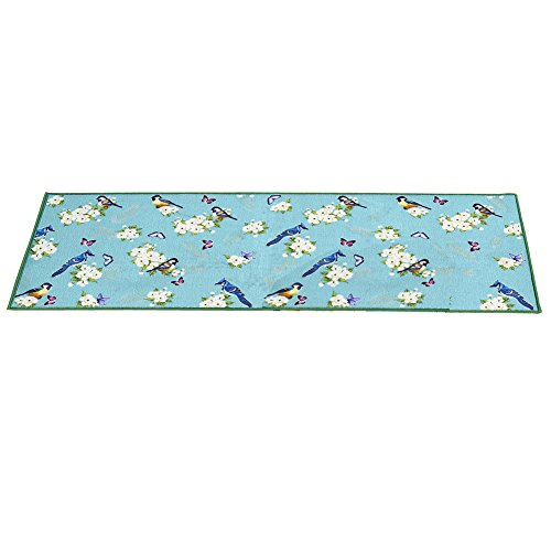 (Collections Songbird Floral Decorative Springtime Blue Accent Rug, 22
