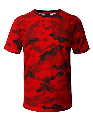 Red Camouflage T-shirt - URBANCREWS Mens Hipster Hip Hop Camouflage Splatter Print T-Shirt RED, L