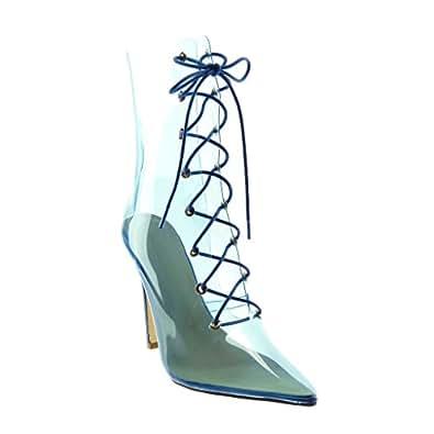 Angkorly - Zapatillas Moda Botines Botas Stiletto Flexible Mujer Transparente plástico Tacón de Aguja Alto 12 CM - Azul B8899 T 37