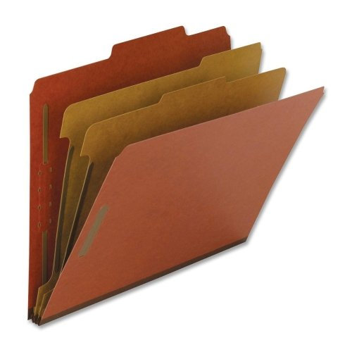 Wholesale CASE of 5 - Nature Saver Exp. Lgl Size Classification Folders-Classification Folders, Legal, 2 Partitions, 10/BX, Red