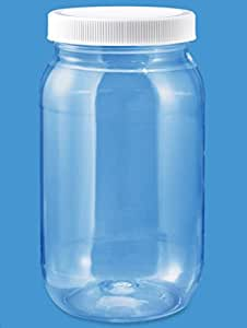 (Pack of 6) 16 Oz. Crystal Clear Plastic PET Round Wide-mouth Jars with White Caps