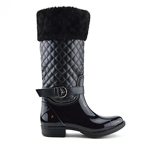Kick Footwear Ladies knee high fur lined quilted zip up wellington boots Schwarz mit Fell