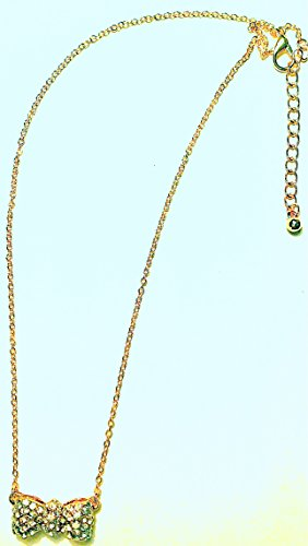 Gold Tone Swarovsky Element Crystal Bow Necklace choker Vluvn0126gd