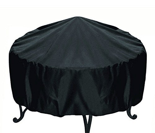 Elevavie Round Fire Pit Cover - Waterproof & Weather Resistant Protective Garden Patio Outdoor Cover with Drawstring - Black