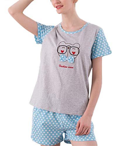 Cotone Tops BESTHOO Donna Pantaloni Pigiami da T da Corti Grey2 due Comoda notte Pigiama shirt Pezzi Camicie OOw51xnTq