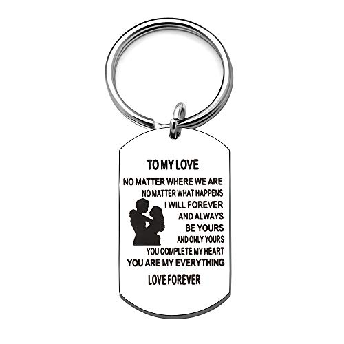 KENYG to My Love Engraved Pendant Stainless Steel Dog Tag Key Ring Key Chain Valentines Day Anniversary