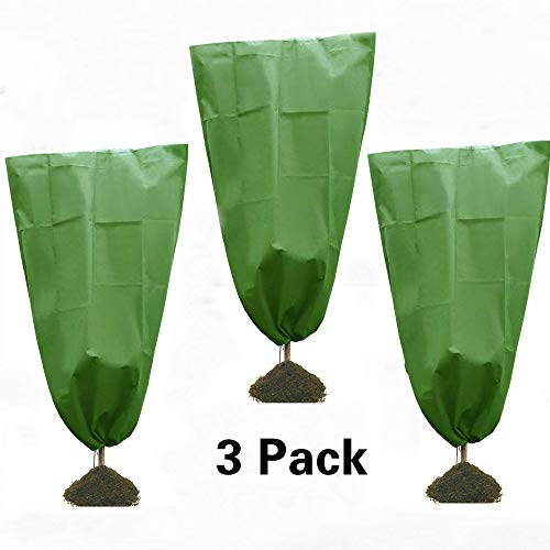 3 Pack Winter Drawstring Plant Covers-31.5″ ×47.3″ Warm Plant Protection Cover Bags,Heavy Duty Warm Worth Frost Blanket Non-Woven Greenhouse Bags for Winter Frost Cold Protection Green