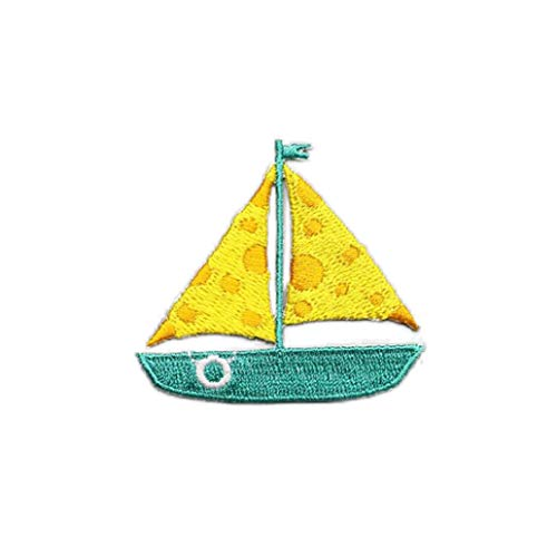 KISSFRIDAY Sailboat Clothing Embroidered Applique Iron On Parches Accessories(style 3)