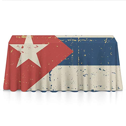 NiYoung Luxury Tablecloths for Outdoor Party, Celebrations, Restaurant - Retro Cuban Flag Dust-Proof Stain Resistant Table Toppers Polyester Table Decor