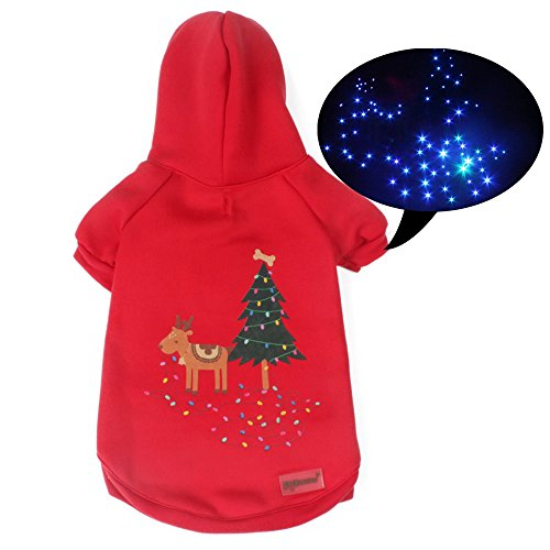 Pawow LED Light Up Pet Dog Hoodie Winter Sweater Puppy Christmas Costume, L, Red - Red Hoodie Christmas Costumes
