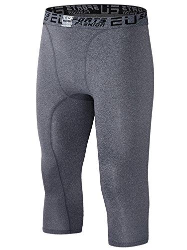 EU Men's Running Compression Capri Base Layer Tights 3/4 Pants(Grey S/Tag (Base Layer Short)