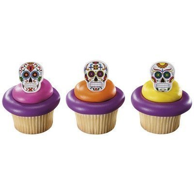 Day of the Dead Dia de Muertos Skeleton Cupcake Rings - 12 Count
