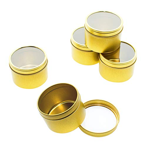 Mimi Pack 2 oz Tins 24 Pack of Deep Window Slip Top Round Tin Containers with Lids For Cosmetics, Party Favors and Gifts (Gold) (Tin Deep Container)