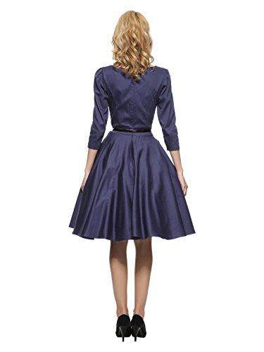 3/4 1950 Manches Robe Rockabilly Vintage Bleu De Maggie Femmes Tang