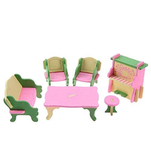 SODIAL 1 set Bebe En Bois Dollhouse Meubles Poupees Maison Miniature Enfant Jouets Jouets Cadeaux # 13