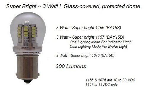 1076 LED Auto Bulb - Super Bright 3 WATT LED Bulb - Protective Shell - BA15D Base - Auto, Marine