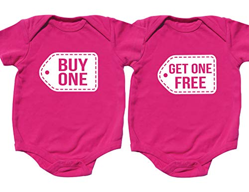 Nursery Decals and More Twin Girls Onesies, Includes 2 Bodysuits, 0-3 Month Buy One Get ()