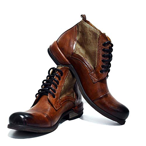 Italian Handmade Brown Leather Boots - PeppeShoes Modello Oreto - 12 US - Handmade Italian Mens Color Brown Ankle Boots - Cowhide Hand Painted Leather - Lace-Up