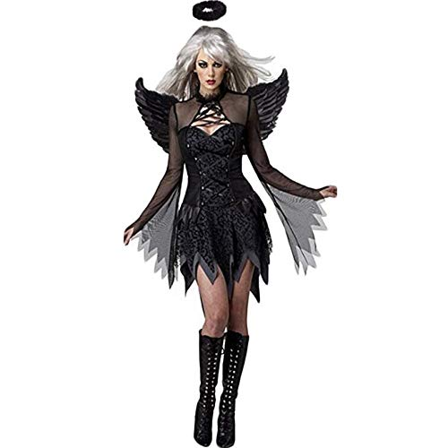 Costour Women's Halloween Costumes with Wings Party Halloween Cosplay Black ()