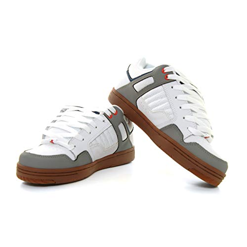 DVS Men's Enduro 125 Skate Shoe, White Grey Blue RED Nubuck, 8.5 Medium US