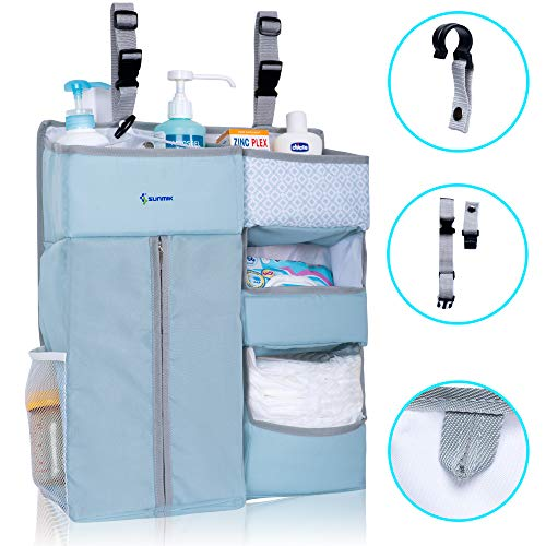 Wall Shelf Diaper (SUNMIK Hanging Diaper Caddy Organizer Large Nursery Room, Crib, Car, and Wall-Hanging Storage Tote for Infants, Newborns, Toddlers | 3 Pockets, Multiple Shelves)