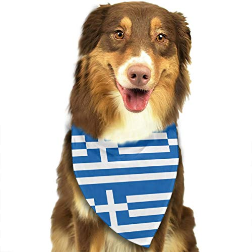 CWWJQ88 Greece Greek Flag Pet Dog Bandana Triangle Bibs Scarf - Easy to Tie On Your Dogs & Cats Pets Animals - Comfortable and Stylish Pet (Greek Cat Costume)