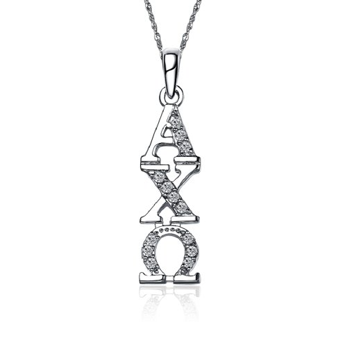 Greek Star Alpha Chi Omega Vertical Silver Necklace with a 18