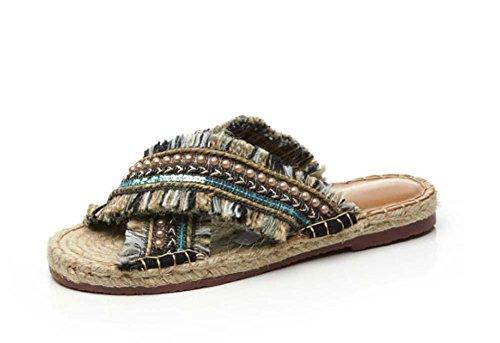 NobS Estilo de vacaciones Perlas Tassil Straw Zapatillas Handmade Straw Zapatillas Beach Shoes Boat Shoes Grey