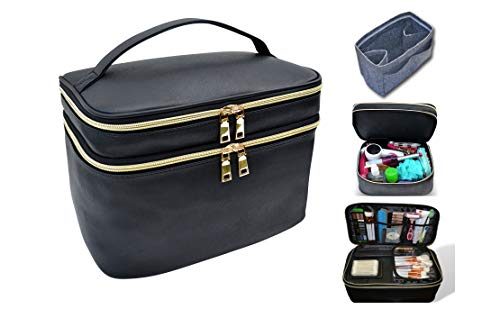 Extra Large Capacity Makeup and Toiletry Bag Tote with Felt Insert Organizer, Big Multi Use Cosmetic and Beauty Train Case for with Handle and Mirror Great for Travel and Gift