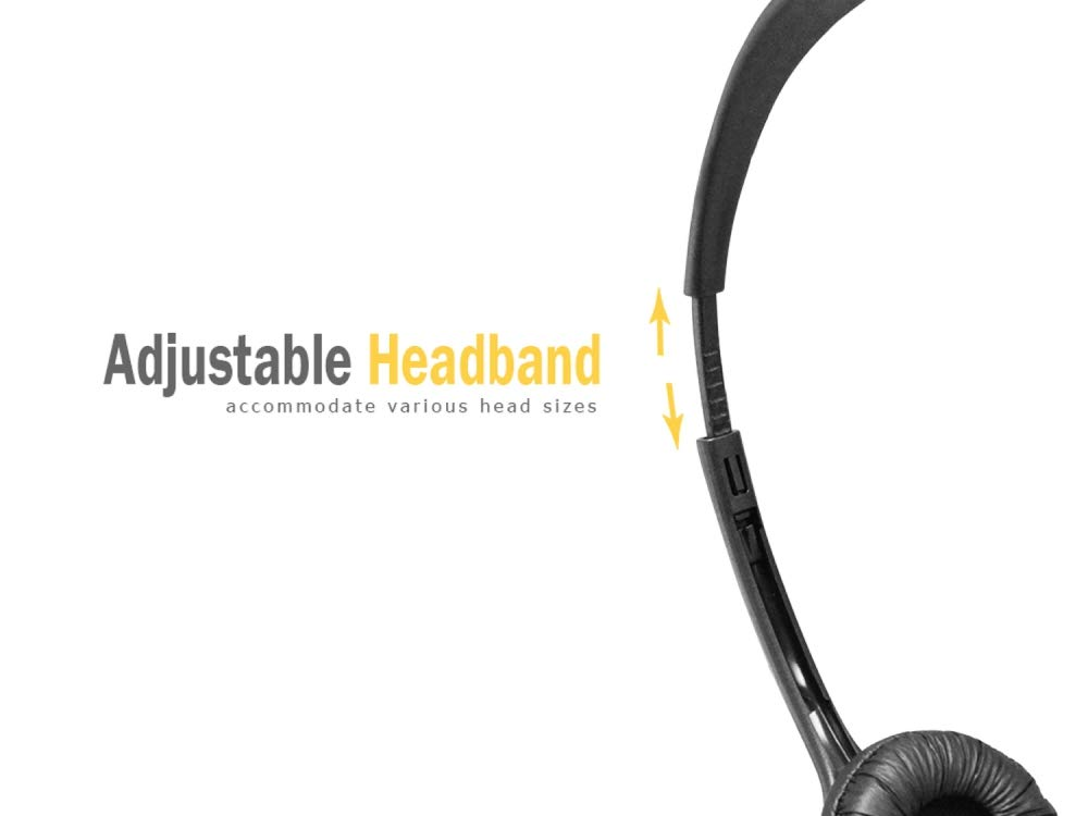 Live Online Chatting Panasonic Cellet 2.5mm Audio Headphones with Microphone Boom Not for Smartphone Lightweight Adjustable PC Headset for Conference etc. Landline Business Call Centers